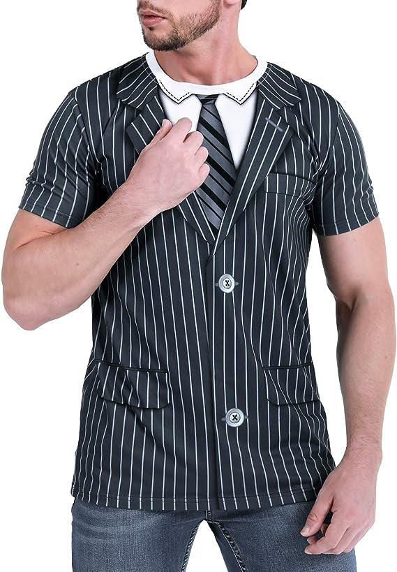 COSAVOROCK Traje Smoking Pajarita T-Shirt Camisetas para Hombre