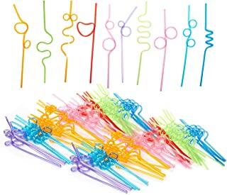 Blue Panda 100 Count Crazy Straws - Party Straws, Flexible Plastic Straws for Kids Birthdays, Parties, Celebrations, Assorted Colors - 9.2 to 10.5 Inches