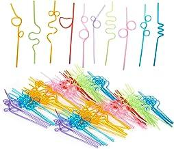 Pajitas de plástico flexible para niños, cumpleaños, fiestas, celebraciones, varios colores, de 9,2 a 10,5 pulgadas