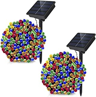 Dolucky 2 Pack Solar Christmas Lights, 72ft 200LED 8modes Solar String Lights, Waterproof Solar Fairy Lights for Outdoor Garden Party Wedding Decoration (Multicolor, 2 Pack)