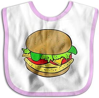 UBCATDESA Hamburger Baby Bibs, Unisex Baby Soft Cotton Easily Clean Teething Bibs(Blue&Pink)