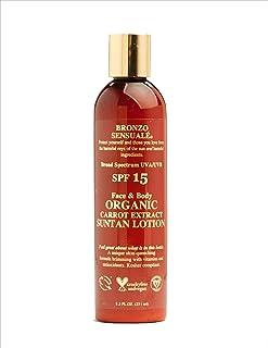 Bronzo Sensuale SPF 15 Sunscreen Deep Golden Tanning Organic Carrot Lotion 8.5 Ounces