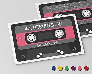 Inbjudningskort till födelsedag (10 stycken) inbjudan till rund födelsedag alla år (rosa) retro kassett