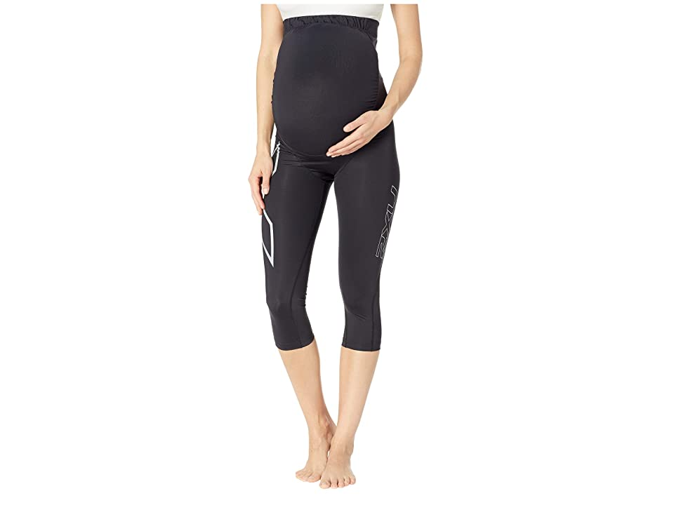 Image of 2XU Pre-Natal Active Compression 3/4 Tights (Black/Silver) Women's Casual Pants