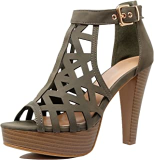 27e28cceacf7 Guilty Shoes Womens Cutout Gladiator Ankle Strap Platform Block Heel  Stiletto Sandals