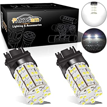 Partsam 3157 3156 4114 Daytime Running Light Bulbs DRL Driving Light 60LED 3528-SMD 6000K Xenon White Ultra Bright Car Led Bulbs (Pack of 2)