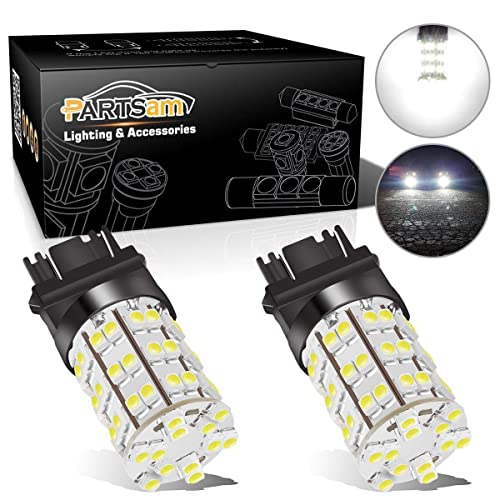 Partsam 3157 3156 4114 Daytime Running Light Bulbs DRL Driving Light 60LED 3528-SMD 6000K