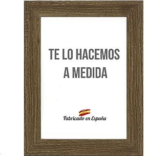 Marco a Medida para Fotos, póster, Puzzles, láminas. Cuadro Modelo 188 Nogal, con Cristal metacrilato 1.5 mm y Trasera Antihumedad 48x68 cm