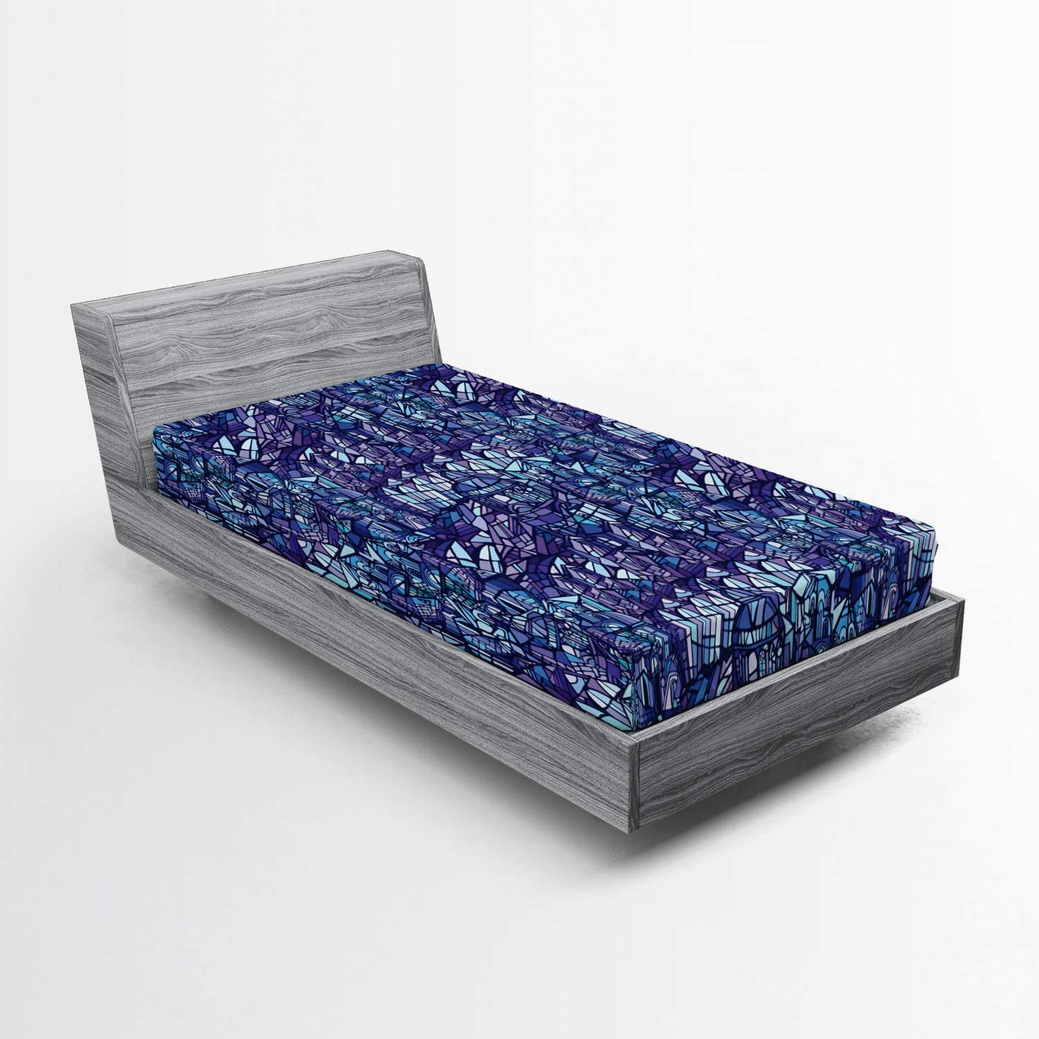 Lunarable Modern Fitted Sheet Fresno Mall Fantasy 4 years warranty Glass Cluttered Inspired