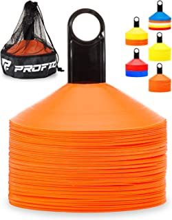 Pro Disc Cones (Set of 50) - Agility Soccer Cones with Carry Bag and Holder for Training, Football, Kids, Sports, Field Co...