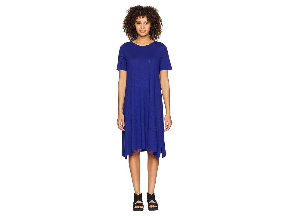 Eileen Fisher Jewel Neck Dress (Blue Violet) Women