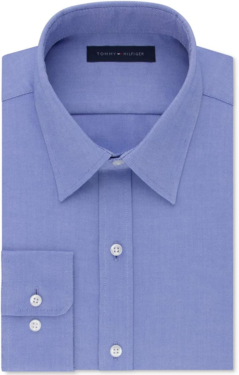Tommy Hilfiger Mens Blue Patterned Collared Classic Fit Stretch Dress Shirt 17.5-34/35