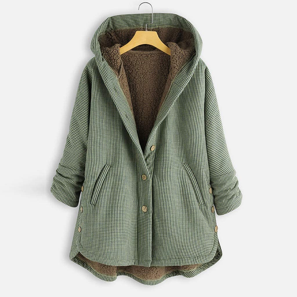 Womens Plus Size Coats, F_Gotal Womens Fuzzy Fleece Jacket Vintage Plaid Asymmetrical Button Hooded Outwearcoat Coat