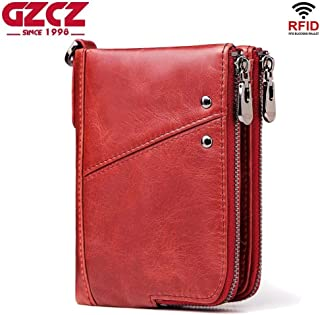Mens Leather Bag Anti-Theft Brush RFID Leather Men's Wallet Multi-Function Double Zipper Vertical Wallet Fashion Casual Coin Purse Bag (Color : Red, Size : S)