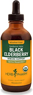 Herb Pharm Certified Organic Black Elderberry Liquid Extract for Immune System Support, Alcohol-Free Glycerite, 4 Ounce (G...