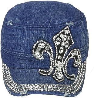 d8fb4e0cbc4 Women s Fleur De Lis Crystal Bling Military Worn Out Style Cap One Size -  Denim