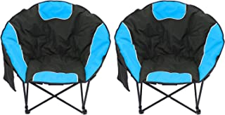 Magshion Folding Padded Round Camping Beach Chair with Storage & Carry Bag Set of 2
