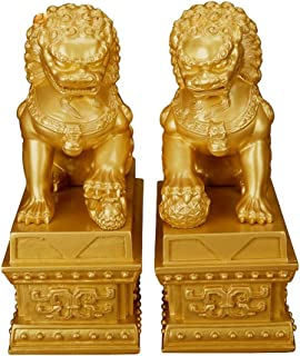 Wenmily Wealth Porsperity Pair of Fu Foo Dogs Guardian Lion Statues,Best Housewarming Congratulatory Gift to Ward Off Evil Energy,Feng Shui Decor