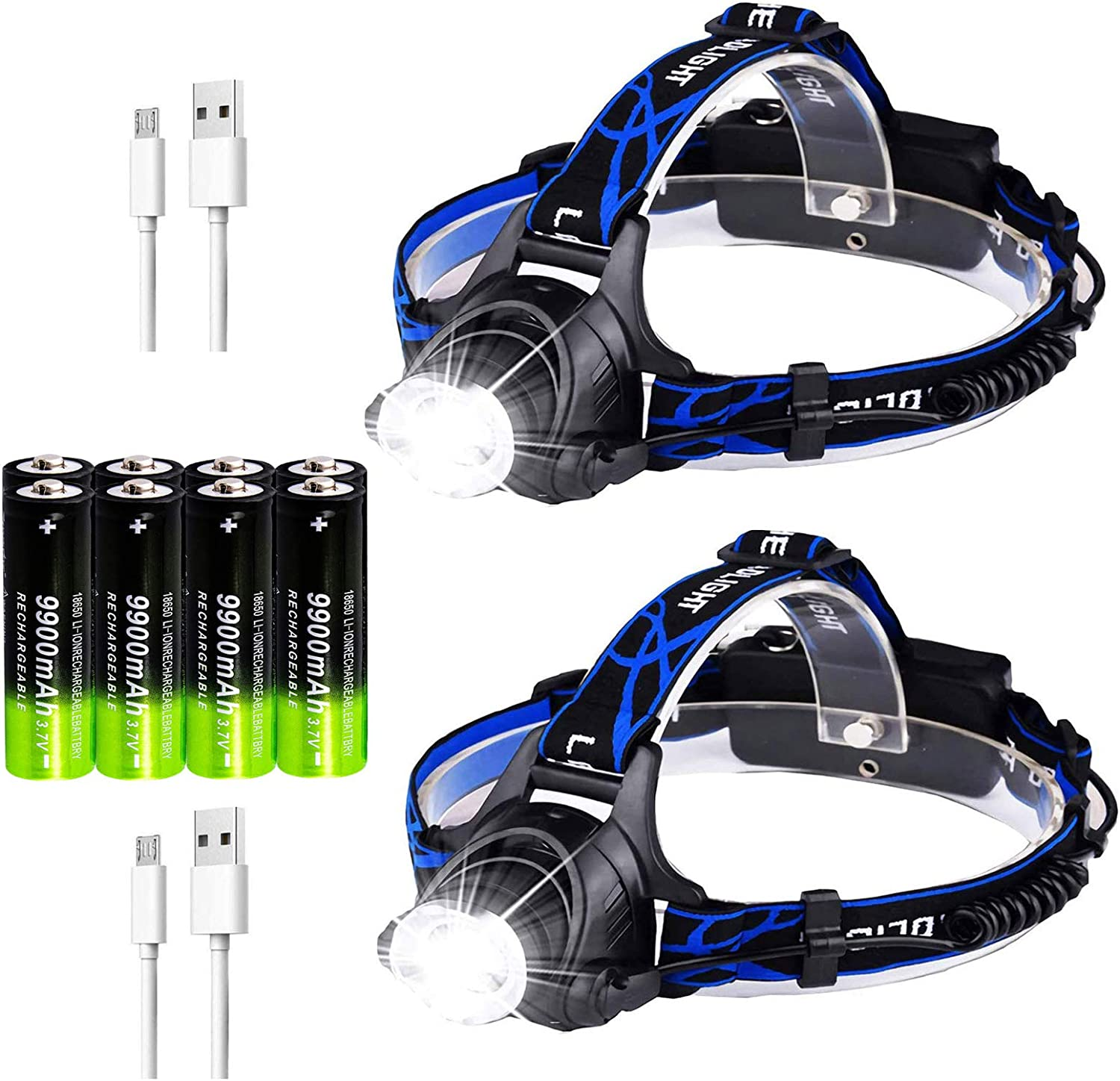 2Pack USB Directly managed store Rechargeable Headlamps with 18650 Financial sales sale Flashlight Headlamp
