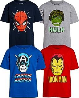 Marvel Boys 4 Pack Avengers T-Shirt - Iron Man, Captain America, Spider-Man, and Hulk Big Face Superheroes