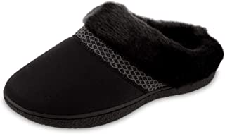 isotoner Women's Recycled Microsuede Mallory Hoodback Slipper, Black, 7.5-8