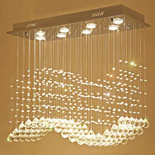Moooni Modern Rectangular Crystal Chandelier Lighting Wave Raindrop Pendent Flush Mount Ceiling Light Fixture for Dining Room L31.5