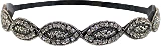 Mia Embellished Headband, Beautiful Silver Beaded With Pretty Clear Marquis Diamond Sparkly Rhinestones, Velvet Backing, For Women, Brides, Girls 1pc