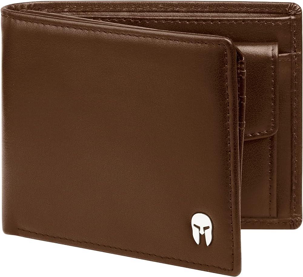 Spartano portafoglio da uomo in vera pelle con protezione rfid per le carte di credito ZEUS_BROWN