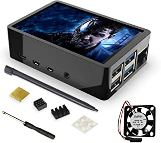 for Raspberry Pi 4 Case 3.5 inch Touch Screen with Built-in Fan and Cooling Heatsink, 320x480 Pixel TFT LCD Monitor Game D...