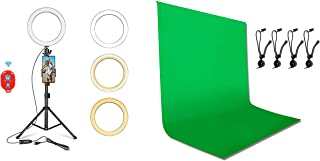 Emart 6 x 9 ft Photography Backdrop Background, 10-inch Selfie Ring Light with Adjustable Tripod Stand & Cell Phone Holder...