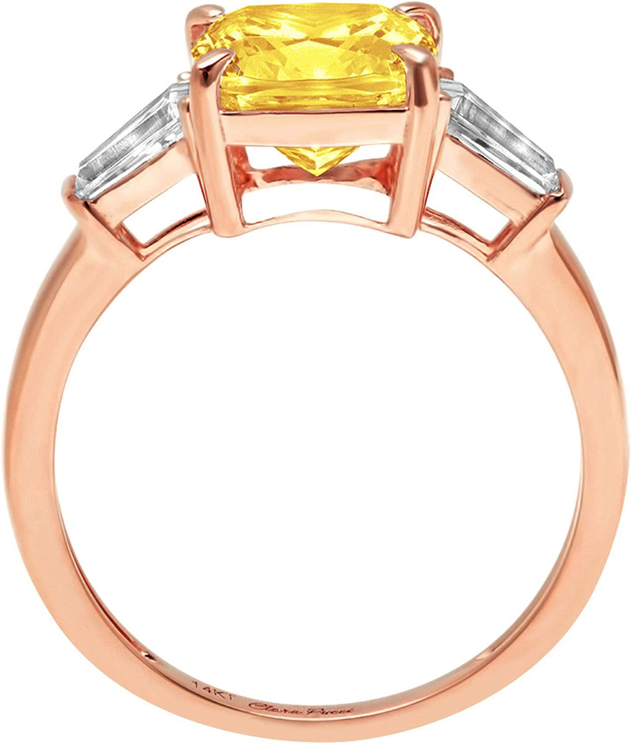 3.44ct Cushion Baguette cut 3 stone Solitaire with Accent Canary Yellow Ideal VVS1 Simulated Diamond CZ Engagement Promise Statement Anniversary Bridal Wedding Ring 14k Rose Gold