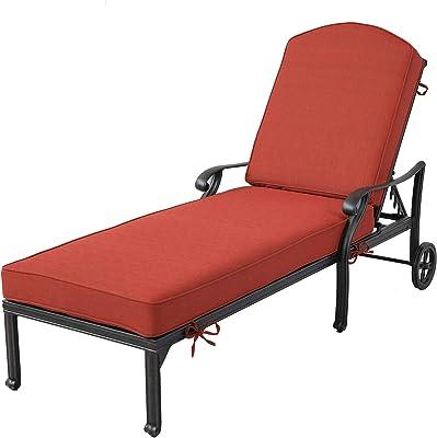 iPatio Sparta Aluminum Adjustable Chaise Lounge with Cushion (Terracotta)