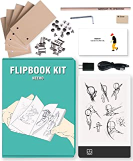 Flip Book Kit, Neeho Flipbook Kit with Light Pad for Drawing and Tracing with 300 Sheets Premium Pre-drilled Flipbook Paper, LED Lightbox for Making Animation Flipbooks with Binding Screws