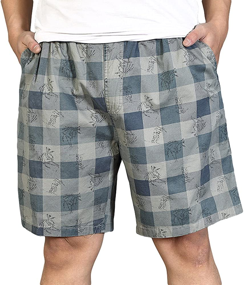 Chickle Men's Camo Plaid Ripstop Cargo Shorts 3XL Grey