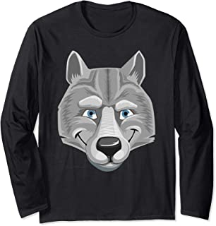 Pigs and Wolf Matching Costume - Bad Evil Wolf Face Dress Up Long Sleeve T-Shirt