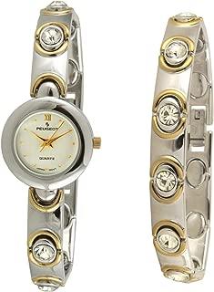 Peugeot Women Two Tone Swarovski Crystal Watch & Matching Bracelet Gift Set