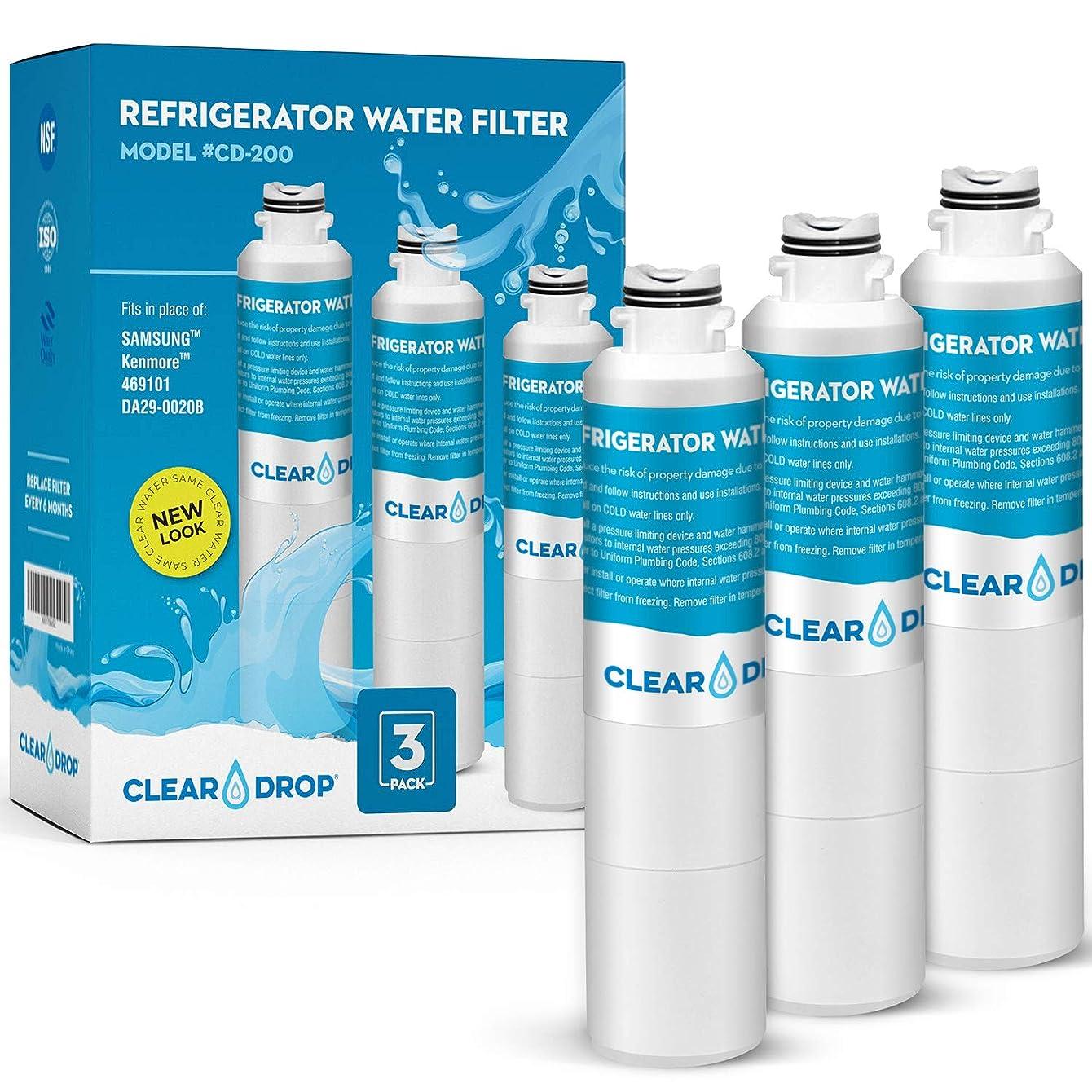 Samsung Water Filter DA29-00020B with Advanced Filtration. Also fits DA29-00020B, DA29-0002B-1, HAF-CIN EXP, KENMORE 46-9101, 469101, 9101, 4609101000 - By CLEAR DROP (3 Pack)