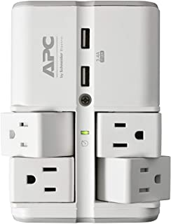 APC Wall Pivot-Plug Surge Protector, 4 Rotating Outlets, 1080 Joule Surge Protector with Two USB Charging Ports, SurgeArre...