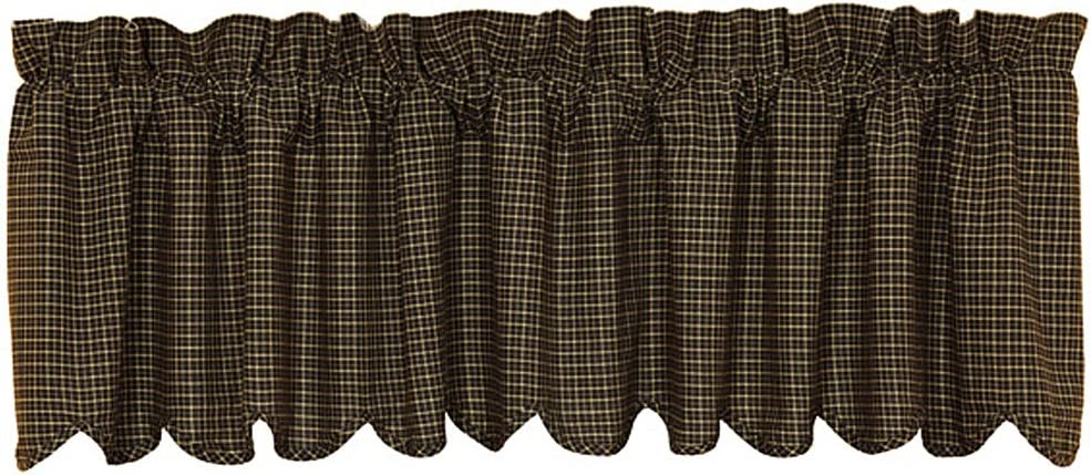 VHC Brands Kettle Grove Plaid Scalloped Valance 16x72 Country Curtain, Country Black