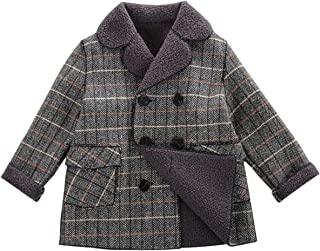 amropi Boy's Winter Coat Plaid Double Breasted Trench Jacket Padded Warm Overcoat for 2-10 Years