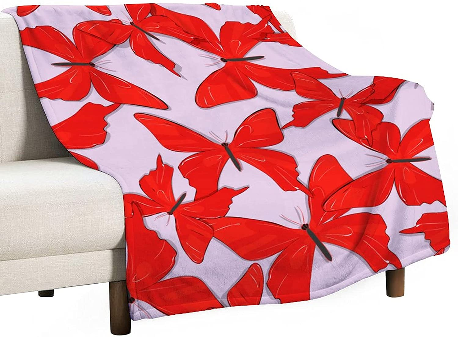 Fashion Red Butterfly Blanket Soft Cozy Lightweight National uniform free shipping Throw Blanke Flannel