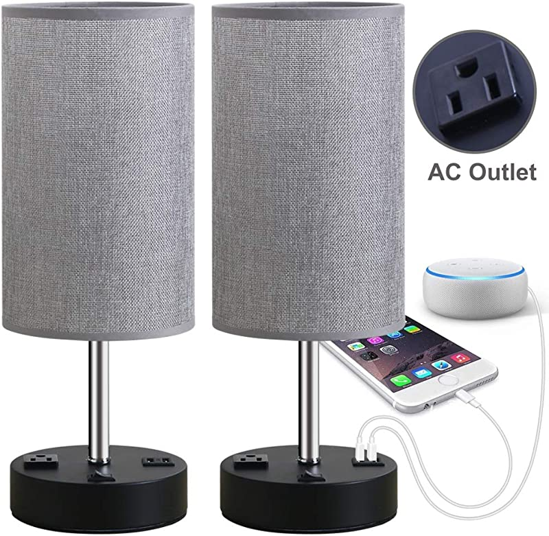 Focondot Table Lamp Bedside Nightstand Lamps With Dual USB Charging Ports An AC Outlet USB Lamp Set Of 2 With Gray Cylinder Shade Stylish Desk Lamp For Bedroom Living Room Office Grey