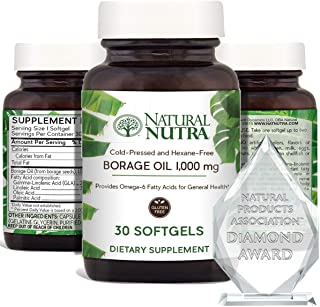 Natural Nutra Borage Oil, Omega 6 Essential Fatty Acids Supplement with GLA, Linoleic, Oleic and Palmitic A...