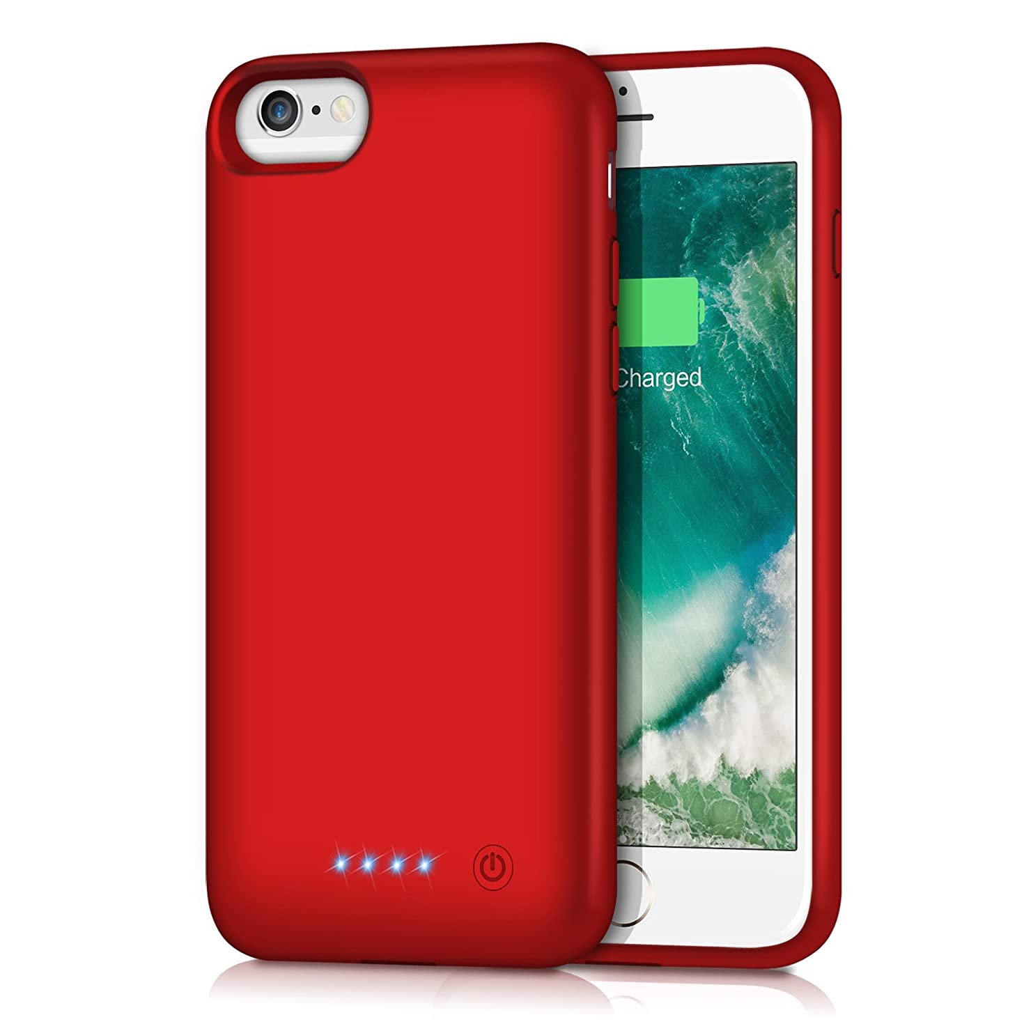 Battery Case for iPhone 6S / 6, Gixvdcu 6000mAh Rechargeable Protective Portable Charging Case for Apple iPhone 6 & 6S (4.7 Inch) Extended Charger Pack Power Bank - Red