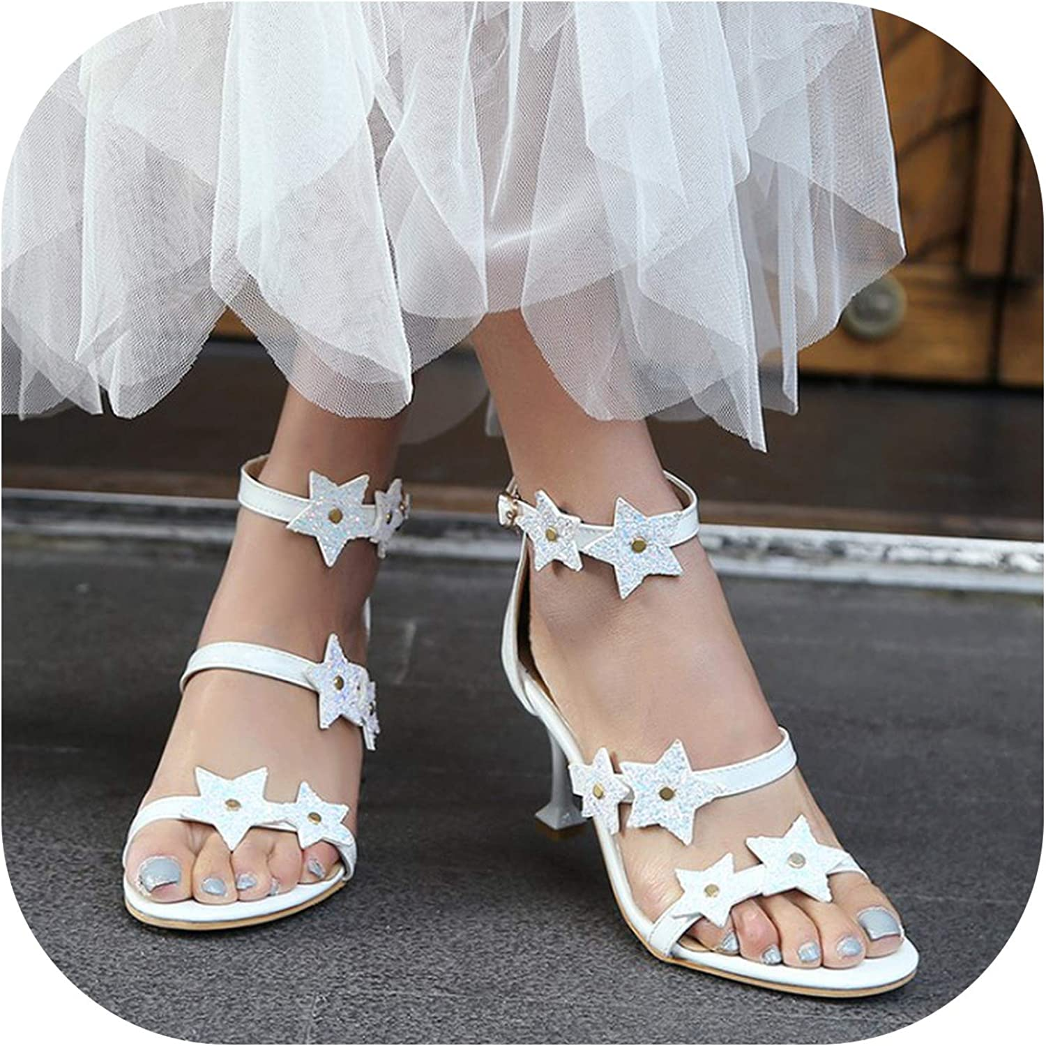 Women's Sandals Summer Open Toe Fine Heel Star Sequin Black High Heel Women's shoes