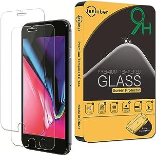 Jasinber [2-Pack] Mica de Vidrio Cristal Templado para iPhone 8