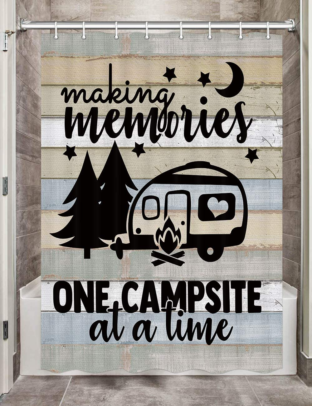 """JAWO Camper RV Shower Curtains for Bathroom, Farmhouse Camping Fabric Shower Curtain Accessories for Travel Trailers, Happy Camp Decorations Bathroom Set Decor Hooks Included (47"""" W X 64"""" H)"""