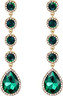 Women's Elegant Wedding Bridal Crystal Beaded Teardrop Chandelier Dangle Earrings