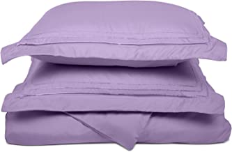 Super Soft Light Weight,100% Brushed Microfiber, Twin/Twin XL, Wrinkle Resistant, Lilac Duvet Cover with 3-Line Embroidered Pillowshams in Gift Box