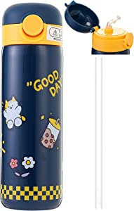 Kids Vacuum Insulated Water Bottle with Straw,14Ounce Leak-Proof Stainless Steel Cute Cat Thermos for Children Hot and Cold Drinks Travel Easy to carry for outdoor travel